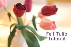 Springtime Craft Tutorial: Felt Tulips By Abby Glassenberg Design Easy Felt Crafts, Felt Diy, Diy Crafts, Leaf Crafts, Fake Flowers, Diy Flowers, Fabric Flowers, Long Flowers, Felt Flower Tutorial