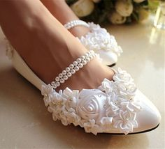 White Pearl Anklet Silk Rose Lace Wedding Shoes Flat Ballet Bridal Us Size 9-10 #weddingshoes