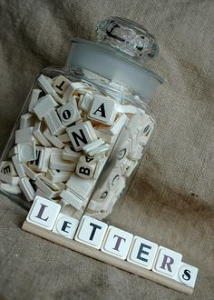 letters from scrabble, upwords, boggle, etc. for read, build, write mats~