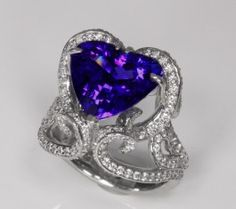 Heart Tanzanite Ring in Palladium With Ideal Cut Diamonds Tanzanite Jewelry, Tanzanite Gemstone, Gemstone Jewelry, Platinum Metal, Ideal Cut Diamond, Rare Gemstones, Custom Jewelry Design, Stone Earrings, Ring Designs