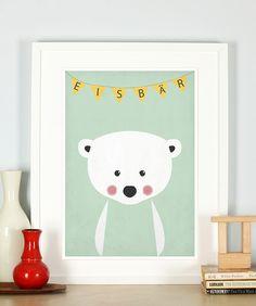 Retro Poster, Eisbär, Kinderzimmer, Bild, Druck von Emugallery auf DaWanda.com
