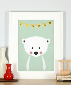 Retro Poster, Eisbär #Kinderzimmer #Bild