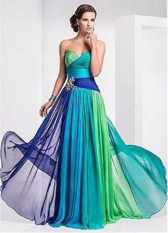 Brilliant Chiffon & Stretch Satin Sweetheart Neckline A-Line Prom Dresses