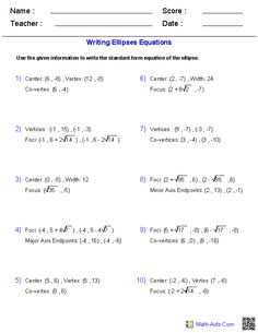 Writing Equation of Circles Worksheets | school days.. oh the good ...