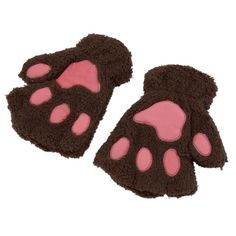 Lovely Women Cat Claw Paw Mitten Plush Gloves Winter Half Finger Fingerless Gloves