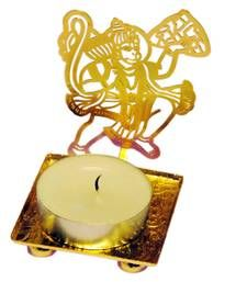 Buy Bajrang Bali Hanuman golden Machine Cutting Work Festive Diya with Wax diya online