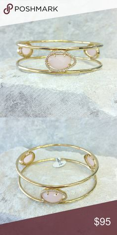 """MARCIA MORAN pink quartz gemstone bracelet 18K yellow gold-plated brass bangle with pink quarts and cubic zirconia details.   Measurement  (approximately) diameter: 2.75"""", width: .75""""  NWT (store tag, not original designer tag). Never worn. Can provide more pictures and info upon request. Reasonable offer only please :) Marcia Moran Jewelry Bracelets"""