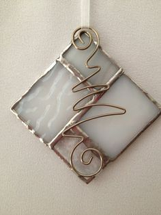 Stained Glass Ornament - Square. $5.00, via Etsy.