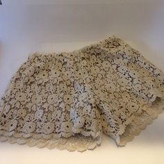 Lace Shorts Sweet summer fun! Beautiful lace shorts with light tan lining. Really cute with scalloped edges, two back pockets. Offers always warmly received. Shorts