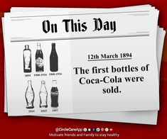 On This Day - 12th March 1894 - The first bottles of Coca-Cola were sold  🎯Want historical facts every day? 📱 Download CircleCare App app.mycirclecare.... #OnThisDay #History #ThisDayOnHistory #CocaCola #HistoricalFacts