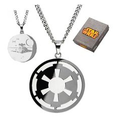 Star Wars Imperial Symbol and Death Star Etched Necklace - Body Vibe - Star Wars - Jewelry at Entertainment Earth