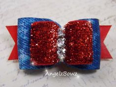 """7/8"""" Luminous Satin and Earthy Blue Denim Dog Bow with a Triple Swarovsks"""