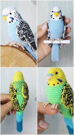 Crochet Bird Patterns, Crochet Birds, Crochet Amigurumi Free Patterns, Cute Crochet, Crochet Crafts, Crochet Dolls, Crochet Projects, Crochet Animals, Crochet Parrot