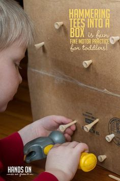 So simple - hammering tees into a box! But such a fun way for toddlers to stay busy ;) So simple - hammering tees into a box! But such a fun way for toddlers to stay busy ; Activities For 2 Year Olds, Motor Skills Activities, Toddler Learning Activities, Indoor Activities, Infant Activities, Preschool Activities, Preschool Fine Motor Skills, Toddler Fun, Toddler Preschool