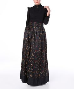Loving this Black & Red Floral Embroidered Mock Neck Maxi Dress on #zulily! #zulilyfinds