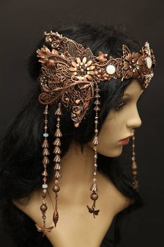 Filigree antiqued copper Elven Wedding tiara diadem crown Art (not copper) Boho Hairstyles, Headband Hairstyles, Costume Accessories, Hair Accessories, Crown Art, Regal Design, Fantasy Hair, Boho Girl, Steampunk Costume