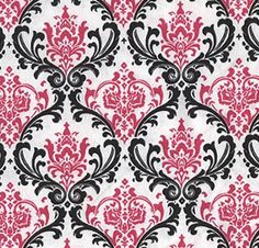 Damask Curtain Panels Fuchsia Hot Pink Black and White Damask Drapery Window Treatments Set SALE on Etsy, $99.00  Love this shop