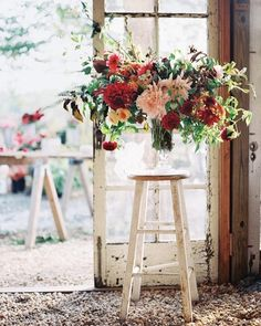 Homegrown food and flowers filled the barn this couple built just for their big day.