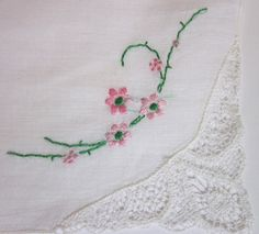 vintage handkerchiefs   vintage handkerchief with embroidered flowers