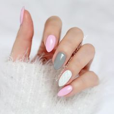pink, grey and white almond nails