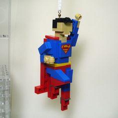Custom LEGO Miniland Super man Ornament by FoldedFancy on Etsy, $30.00