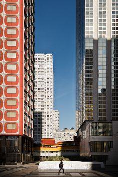 70's architecture in Beaugrenelle area, Paris by Samuel GAZE, via Behance