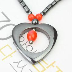 Rouge Collier hématite en forme de coeur