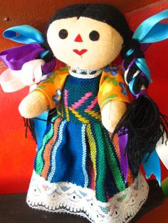 Mexican Doll Maria cloth doll. Colorful doll. by joselinicrafts, $9.00