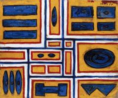 1957, Francisco Matto (Montevideo, Uruguay 1911-1995): estructura en azul, blanco y rojo. Oleo sobre cartón entelado 89.2 x 103.5 cm. Colección privada, Montevideo.