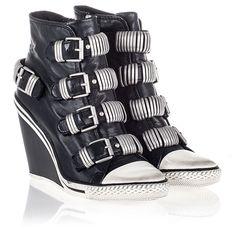 4413e5c8dd78 Ash Tornado Womens Wedge Sneaker Black Leather 340620 (001)