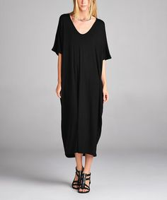 Look at this #zulilyfind! Black V-Neck Maxi Dress #zulilyfinds