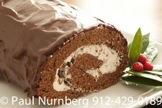 """Chef Debbi Covington's Buche de Noel from """"Celebrate Everything! Purchase the cookbook at www.cateringbydebbicovington.com. Only $34.95 with FREE SHIPPING. Great Christmas gift! (photography by Paul Nurnberg)"""