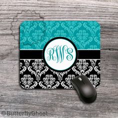 Personalized Mouse Pad Turquoise and Black by ButterflyGhost