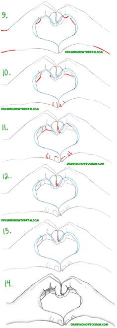 Learn How to Draw Heart Hands in Simple Steps Drawing Lesson for Beginners and Intermediates
