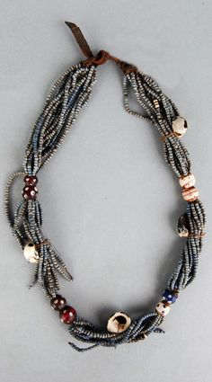 South Africa | Necklace; glass beads, leather, shells and natural fiber | Possibly from the Xhosa people | ca. 1891 or earlier