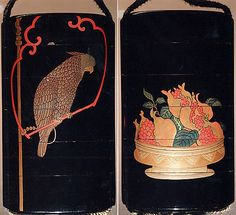 Case (Inrô) with Design of Parrot on Swing (obverse) Basket of Pomegranates (reverse) Period: Edo period (1615–1868) Date: 18th–19th century Culture: Japan Medium: Lacquer, roiro, gold, silver and coloured togidashi; Interior: nashiji and fundame