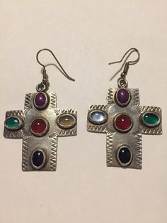 Taxco Multistone Sterling Cross Earrings Sugalite Moonstone Red Carnelian Green Onyx 925 Silver Mexico Mexican Vintage Jewelry Birthday Gift