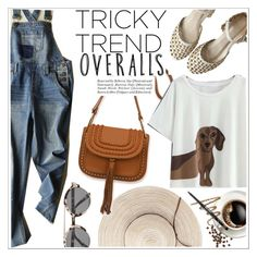 """""""Tricky Trend: Overalls"""" by teoecar ❤ liked on Polyvore featuring Illesteva and Avon"""