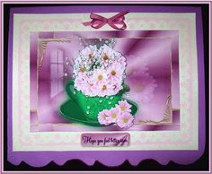 Pink Chrysanthnum in a Teacup on Craftsuprint designed by Vicki Avcin - made by Rae Trees - I printed the design on good quality matte photo paper and attached the base to a pink and cream punched mat then on to a mauve card. I decoupaged the elements with silicone glue , added one of the sentiments and a bow. Lovely design - Now available for download!