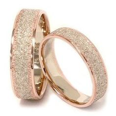BEAUTIFUL His & Hers Brush Finish Two Tone Wedding Bands 14K Whie & Rose Gold