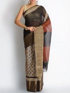 Maroon-Black-Beige Kota Doria Cotton Zari Border Bagru Printed Saree
