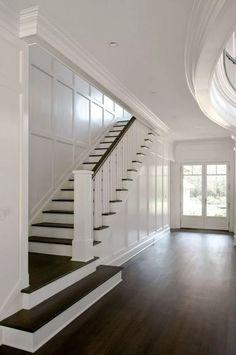 LOVE the dark wood with white! [East Hampton house by Carmina Roth Interiors] LOVE the dark wood with white! [East Hampton house by Carmina Roth Interiors] Staircase Design, Staircase Ideas, Staircase Makeover, Staircase Molding, Wood Staircase, Hallway Ideas, Interior Stairs, Interior Ideas, Foyer Decorating