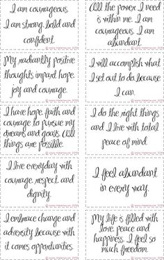 free printable courage affirmation cards for creative journeys