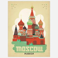 World Travel Moscow 18x24 now featured on Fab.