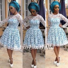 An a wedding guest {bella} looking stunning in aso-ebi – the fabric/colours of the day, at a traditional engagement or - BellaNaija Weddings. African Lace Styles, African Dresses For Women, African Print Dresses, African Attire, African Wear, African Prints, African Women, African Clothes, African Fashion Ankara