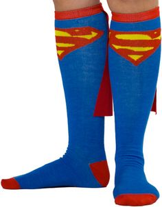 Immediately claim the nickname Calves of Steel with these Superman Caped Knee High Socks! These are the Superman socks worn by Robert Griffin III, or as we cool people call him! Capes, Superman Cape, Superman Outfit, Superman Stuff, Heros Comics, Dc Comics, Stocking Stuffers For Men, Over Boots, Crazy Socks