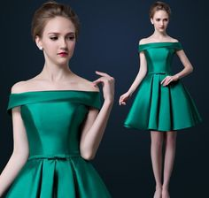 Elegant Boat Neck Off the Shoulder Cocktail Dress Short Sleeve Green and Red Satin  Prom Party Dress 2015 Spring Summer