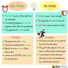 """The Difference between """"On Time"""" & """"In Time"""" in English – ESL Buzz Learning English For Kids, Teaching English Grammar, English Writing Skills, English Language Learning, English Lessons, English Verbs, English Sentences, English Vocabulary Words, English Phrases"""