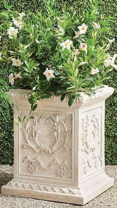 Inspired by the romantic grandeur of historical Provencal gardens, our eye-catching, all-weather planters feature gorgeously detailed designs including botanical motifs, ribbon laurels and artfully molded rims. The sturdy pulverized stone and polyresin construction ensures it will be a staple for showcasing flowers, grasses and topiaries for years to come. Trough Planters, Garden Planters, Red Poppies, Red Flowers, Boxwood Topiary, Garden Oasis, Planter Boxes, Navy And Green, Mykonos