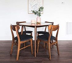 Amazon.com: Edloe Finch 5 Piece Round Dining Table Set for 4, Walnut Top: Kitchen & Dining